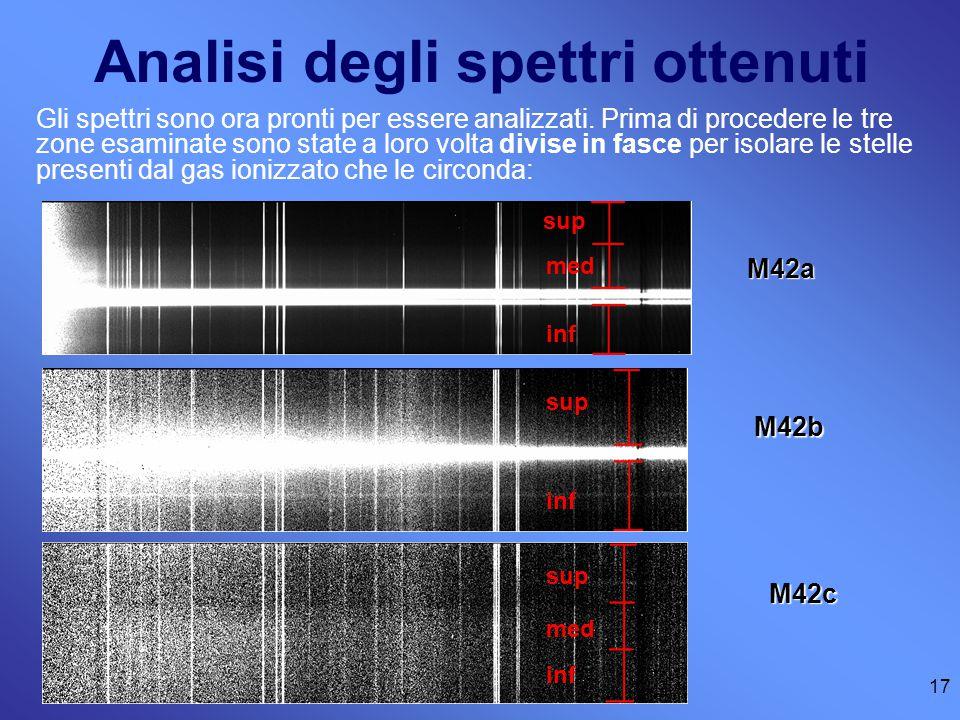 Analisi degli spettri ottenuti