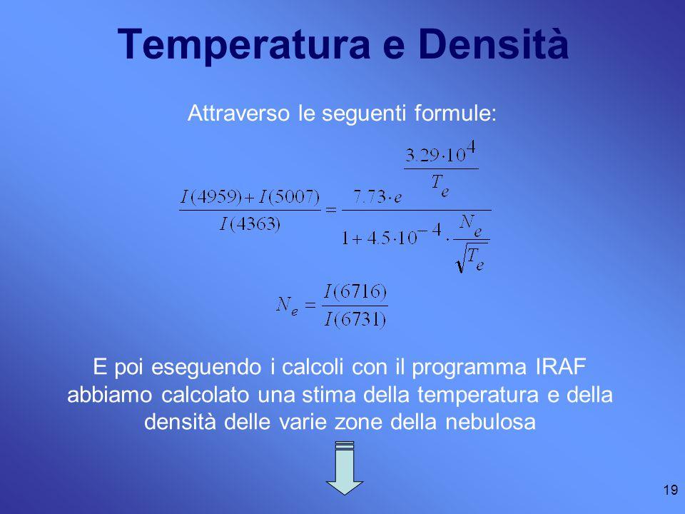 Temperatura e Densità Attraverso le seguenti formule: