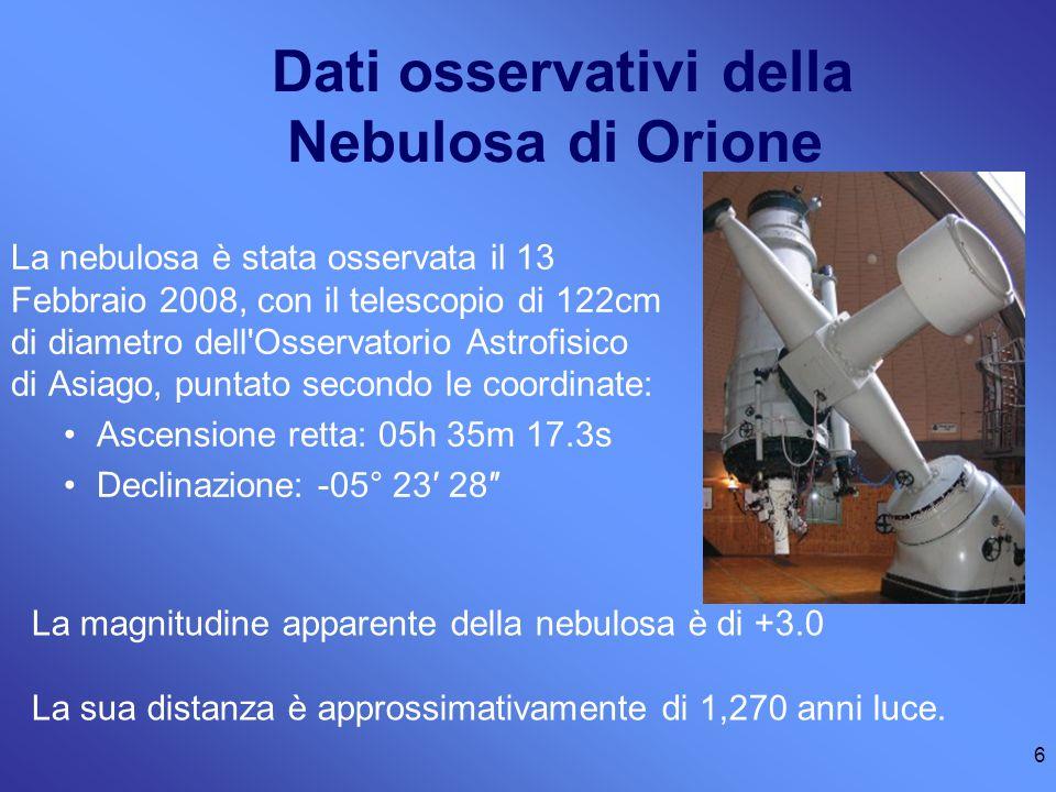 Dati osservativi della Nebulosa di Orione