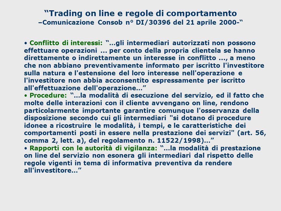 Trading on line e regole di comportamento –Comunicazione Consob n° DI/30396 del 21 aprile 2000-
