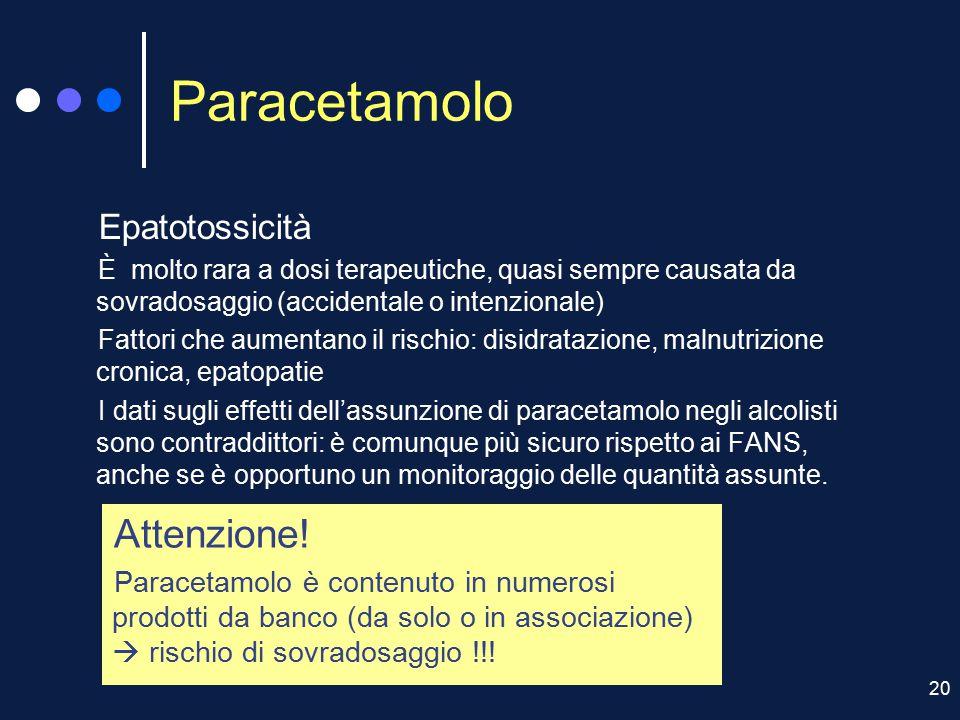 Paracetamolo Attenzione! Epatotossicità