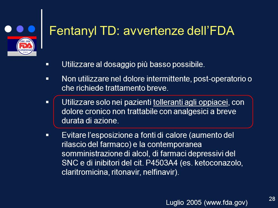Fentanyl TD: avvertenze dell'FDA