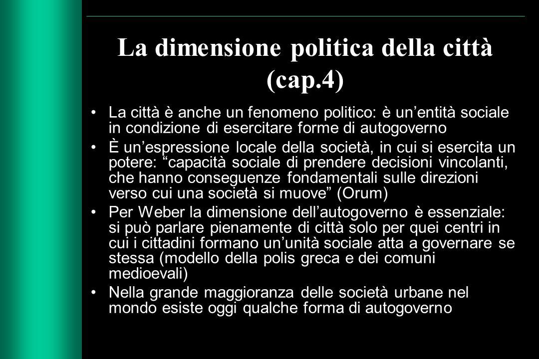 La dimensione politica della città (cap.4)