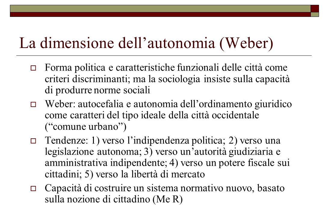 La dimensione dell'autonomia (Weber)
