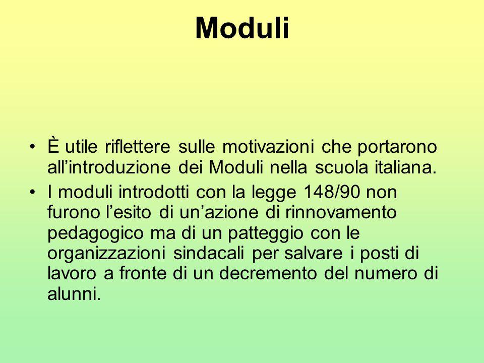 Moduli È utile riflettere sulle motivazioni che portarono all'introduzione dei Moduli nella scuola italiana.