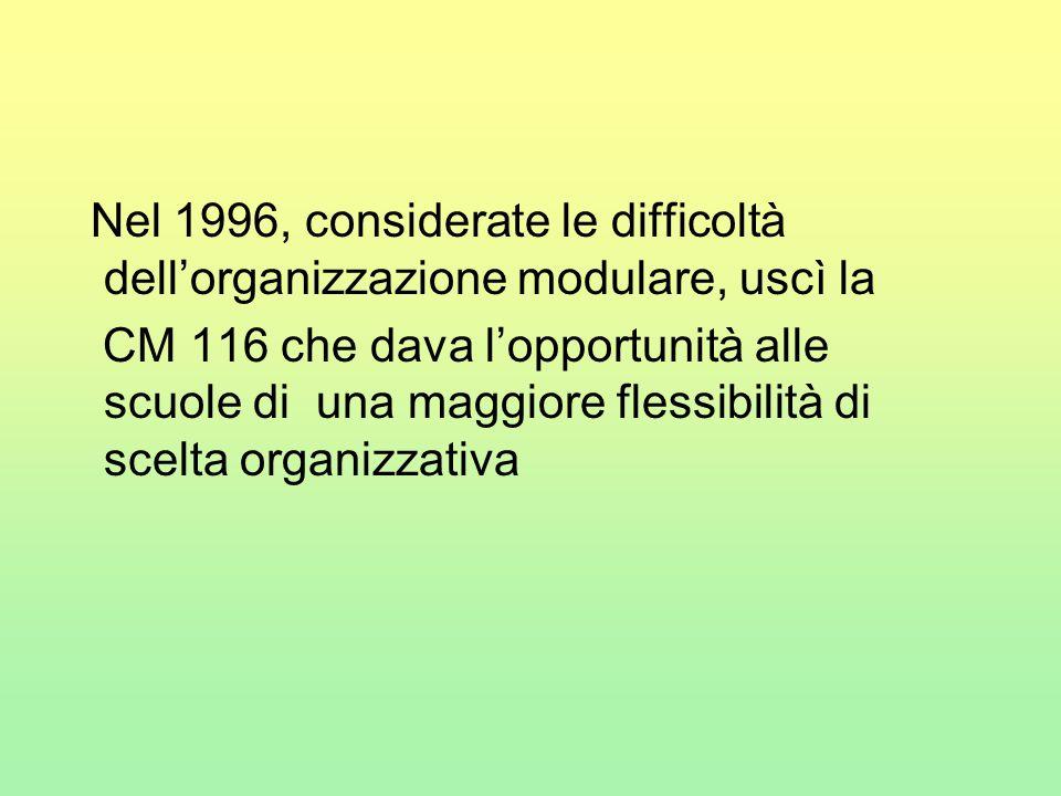 Nel 1996, considerate le difficoltà dell'organizzazione modulare, uscì la