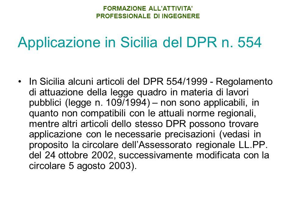 Applicazione in Sicilia del DPR n. 554