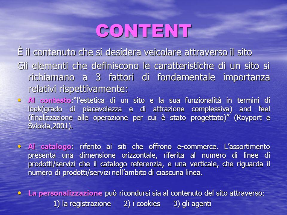CONTENT È il contenuto che si desidera veicolare attraverso il sito