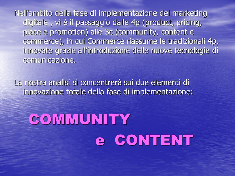 Nell'ambito della fase di implementazione del marketing digitale , vi è il passaggio dalle 4p (product, pricing, place e promotion) alle 3c (community, content e commerce), in cui Commerce riassume le tradizionali 4p, innovate grazie all'introduzione delle nuove tecnologie di comunicazione.