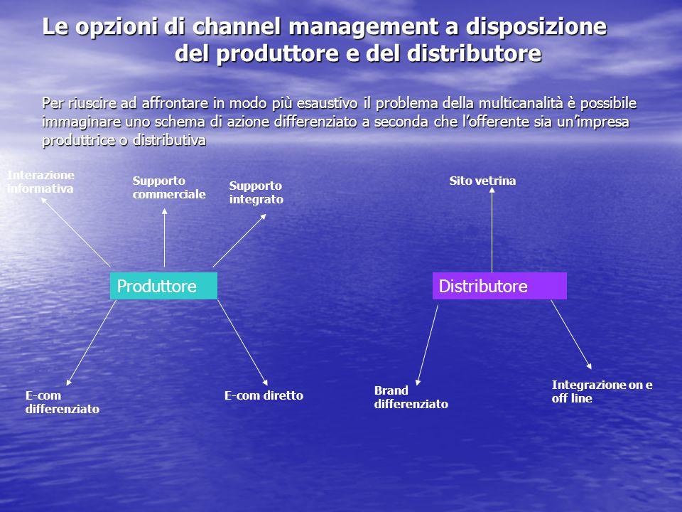Le opzioni di channel management a disposizione del produttore e del distributore Per riuscire ad affrontare in modo più esaustivo il problema della multicanalità è possibile immaginare uno schema di azione differenziato a seconda che l'offerente sia un'impresa produttrice o distributiva