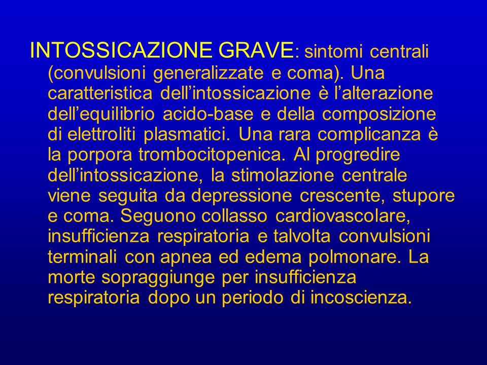 INTOSSICAZIONE GRAVE: sintomi centrali (convulsioni generalizzate e coma).