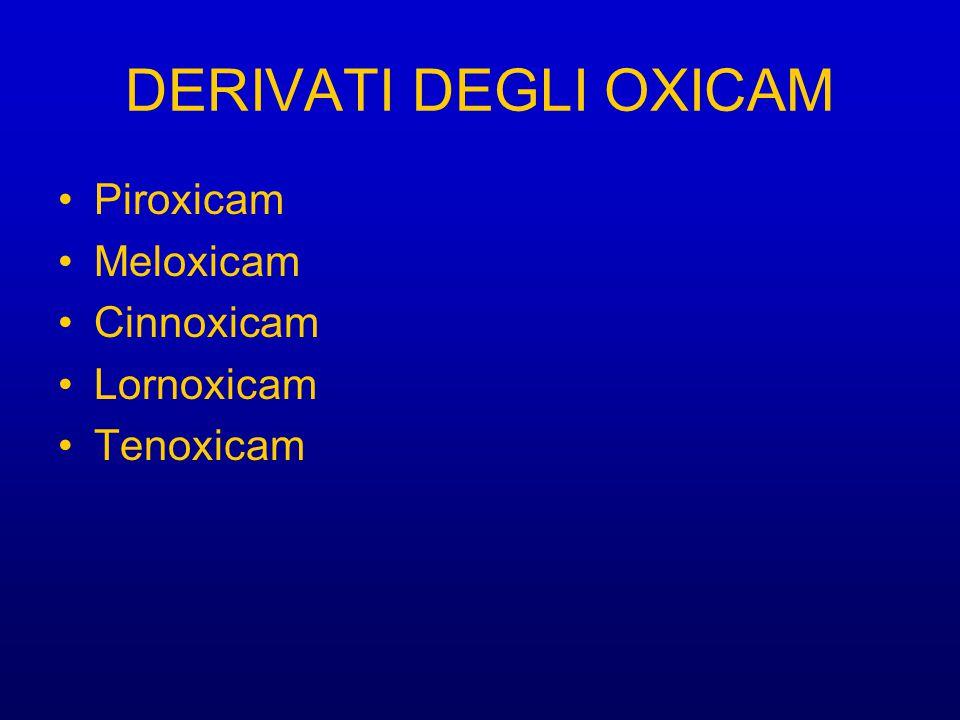 DERIVATI DEGLI OXICAM Piroxicam Meloxicam Cinnoxicam Lornoxicam