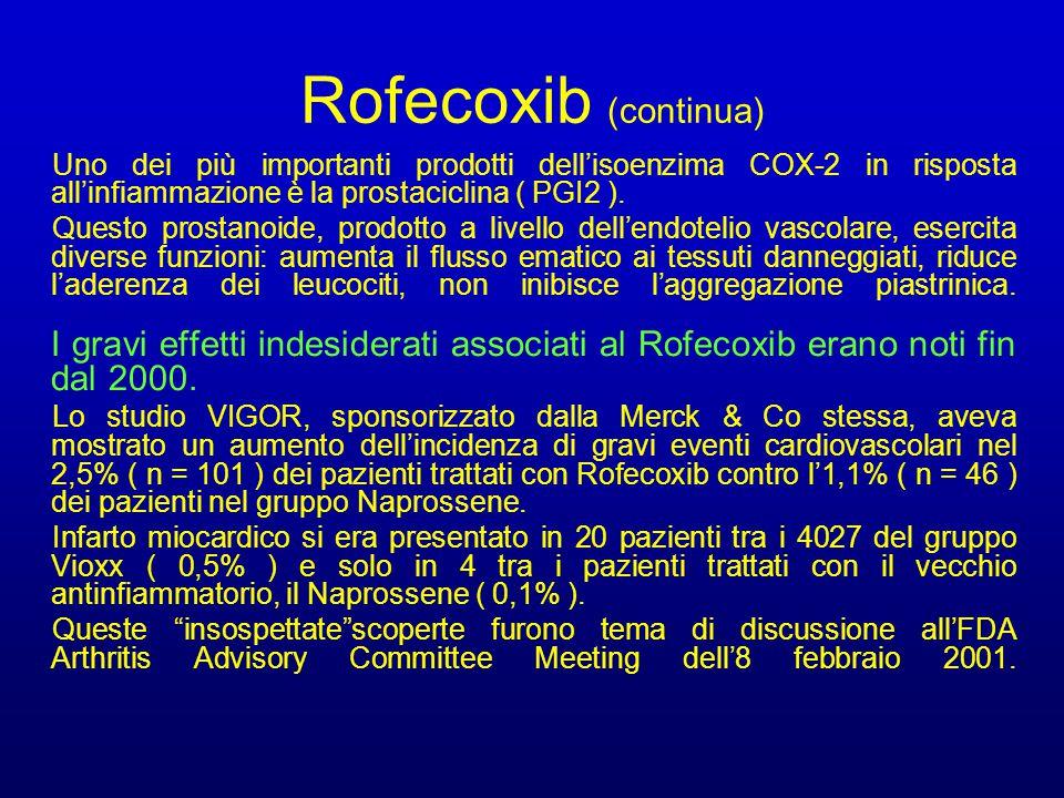 Rofecoxib (continua) Uno dei più importanti prodotti dell'isoenzima COX-2 in risposta all'infiammazione è la prostaciclina ( PGI2 ).