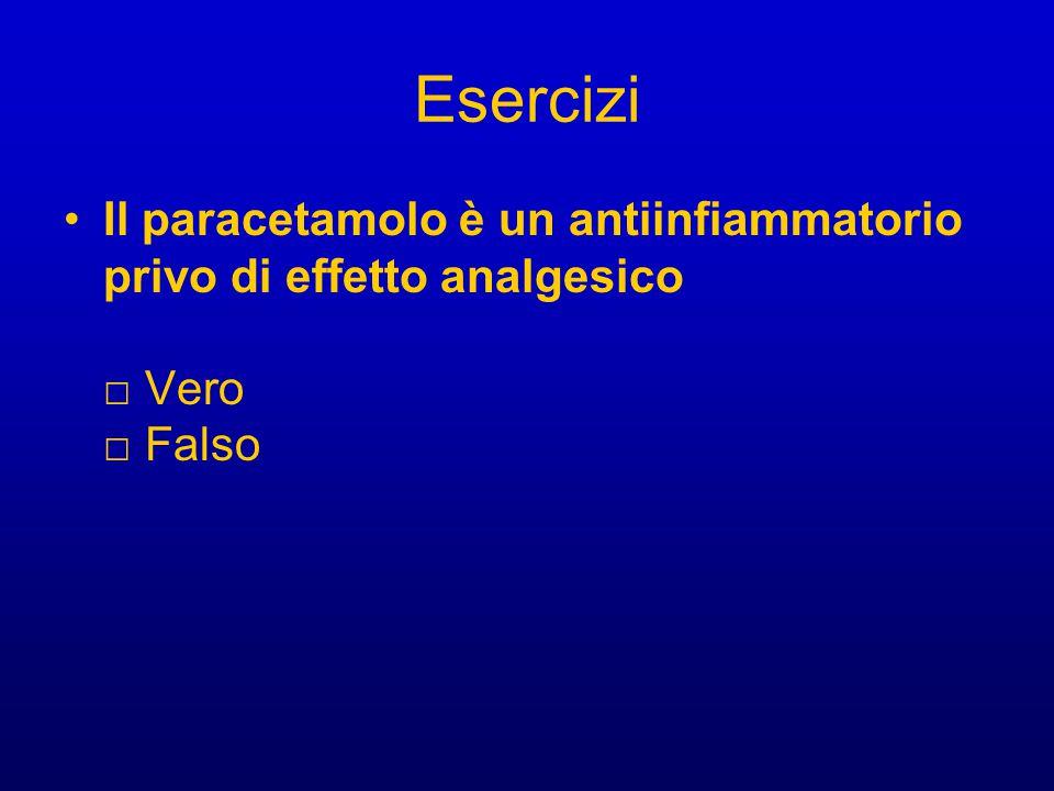 Esercizi Il paracetamolo è un antiinfiammatorio privo di effetto analgesico □ Vero □ Falso