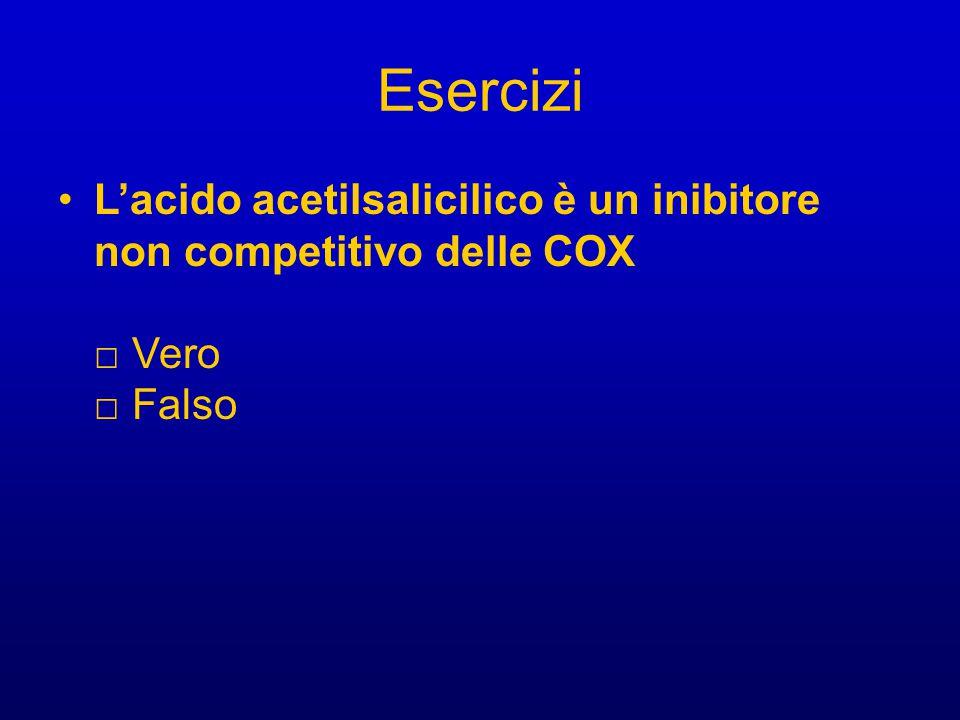 Esercizi L'acido acetilsalicilico è un inibitore non competitivo delle COX □ Vero □ Falso