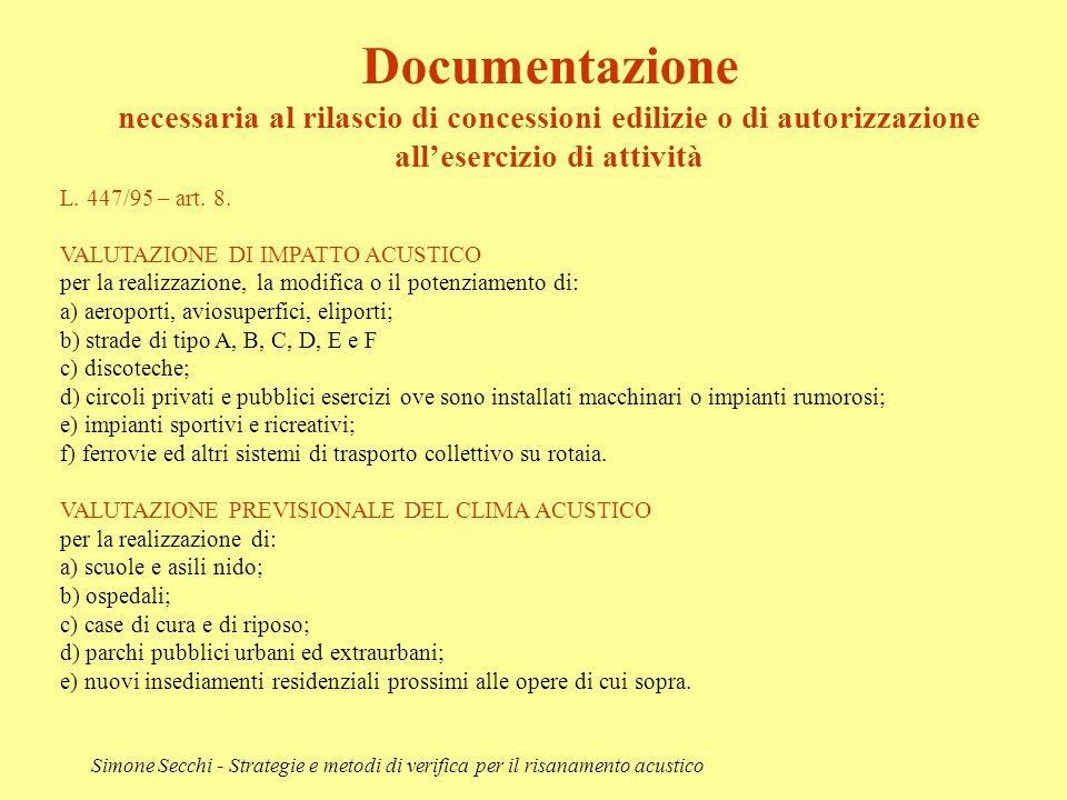 Documentazione necessaria al rilascio di concessioni edilizie o di autorizzazione all'esercizio di attività.
