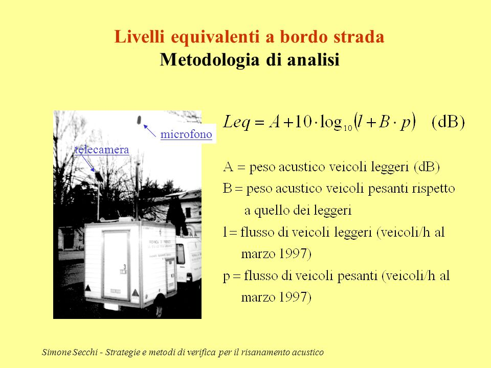 Livelli equivalenti a bordo strada Metodologia di analisi