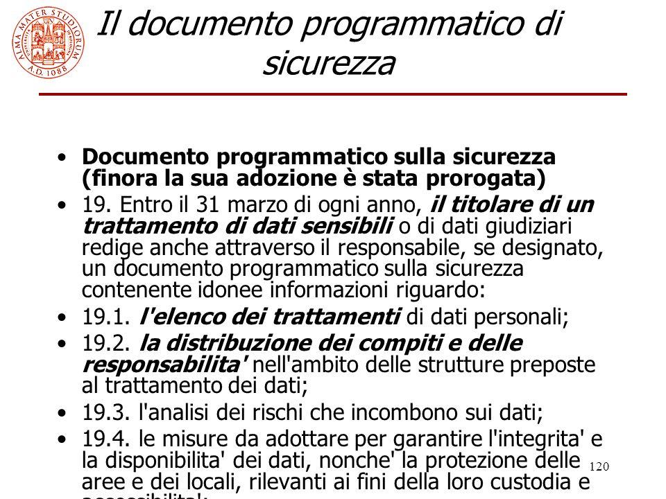 Il documento programmatico di sicurezza