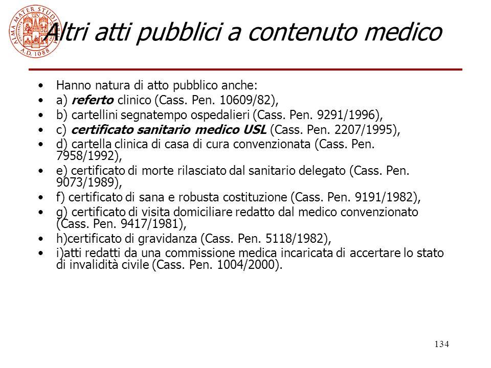 Altri atti pubblici a contenuto medico