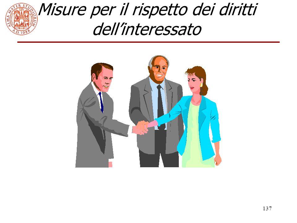 Misure per il rispetto dei diritti dell'interessato