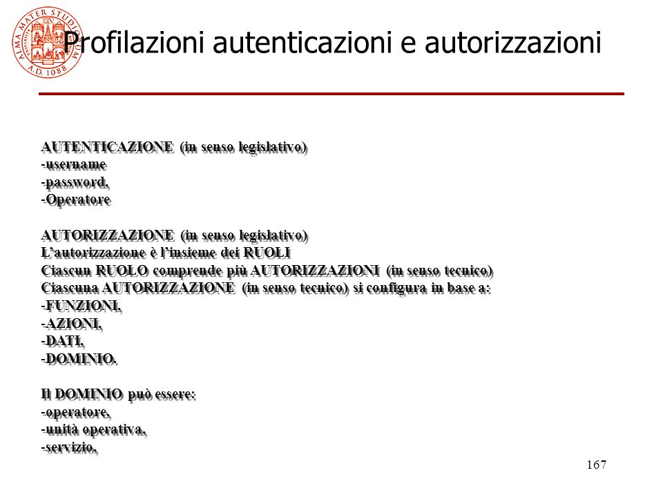 Profilazioni autenticazioni e autorizzazioni