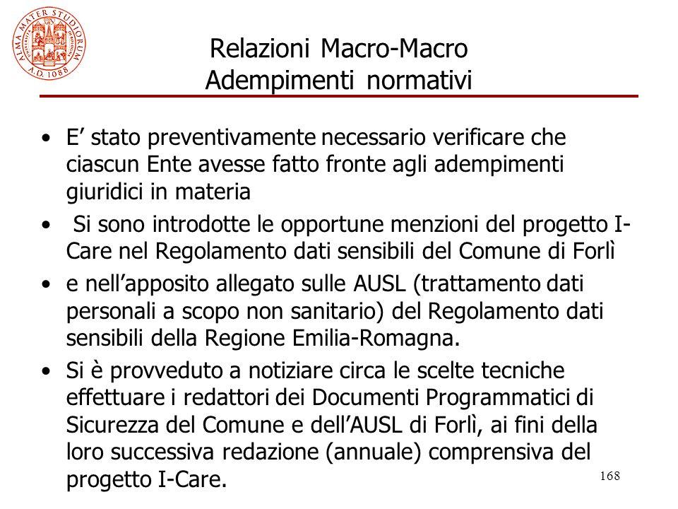 Relazioni Macro-Macro Adempimenti normativi
