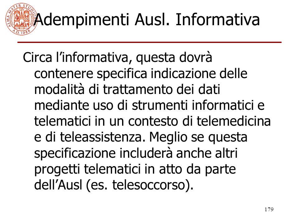 Adempimenti Ausl. Informativa