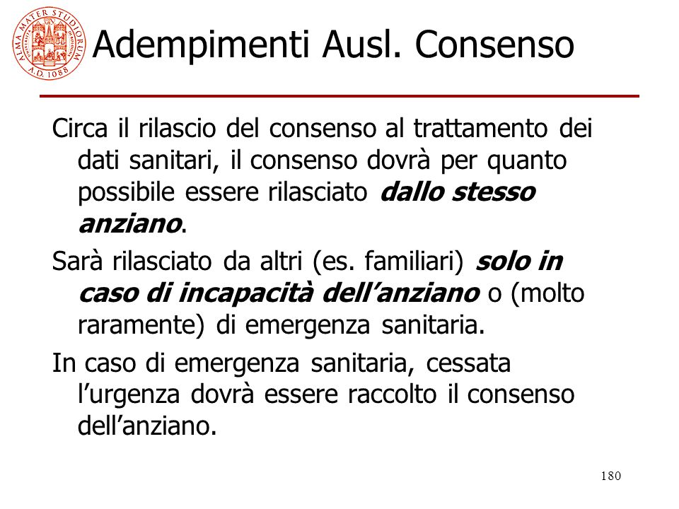 Adempimenti Ausl. Consenso