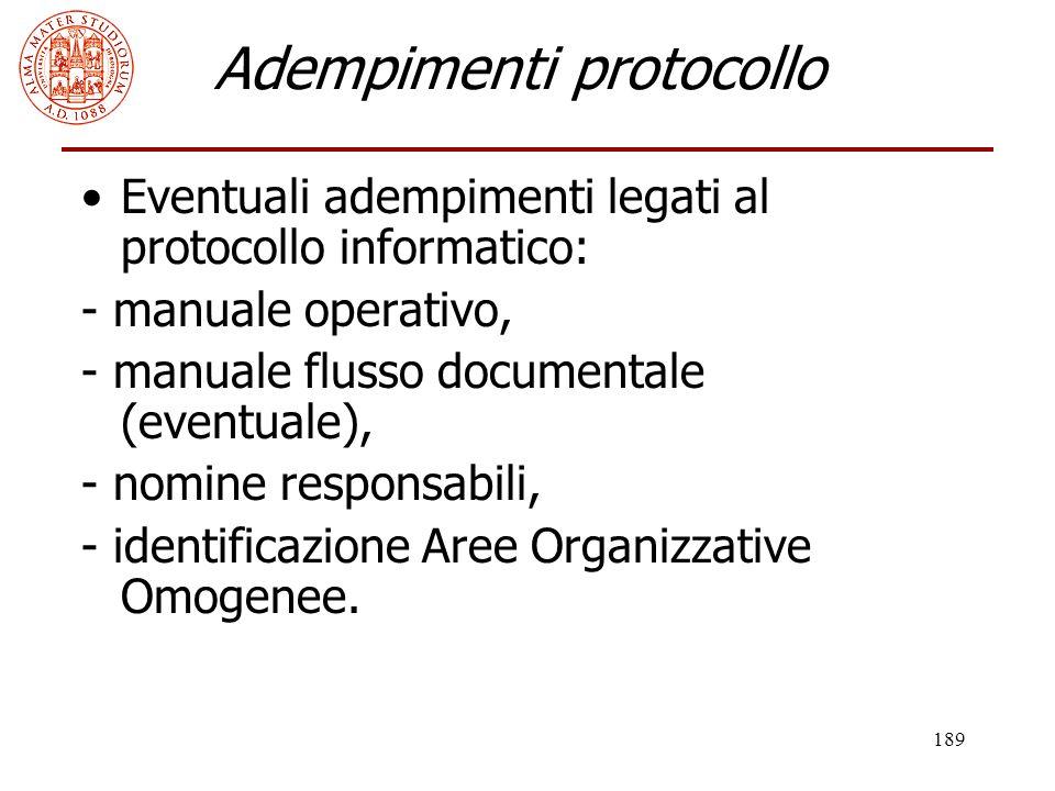 Adempimenti protocollo