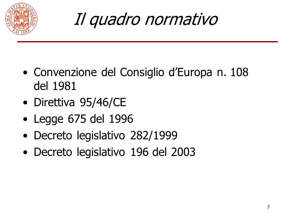 Il quadro normativo Convenzione del Consiglio d'Europa n. 108 del 1981