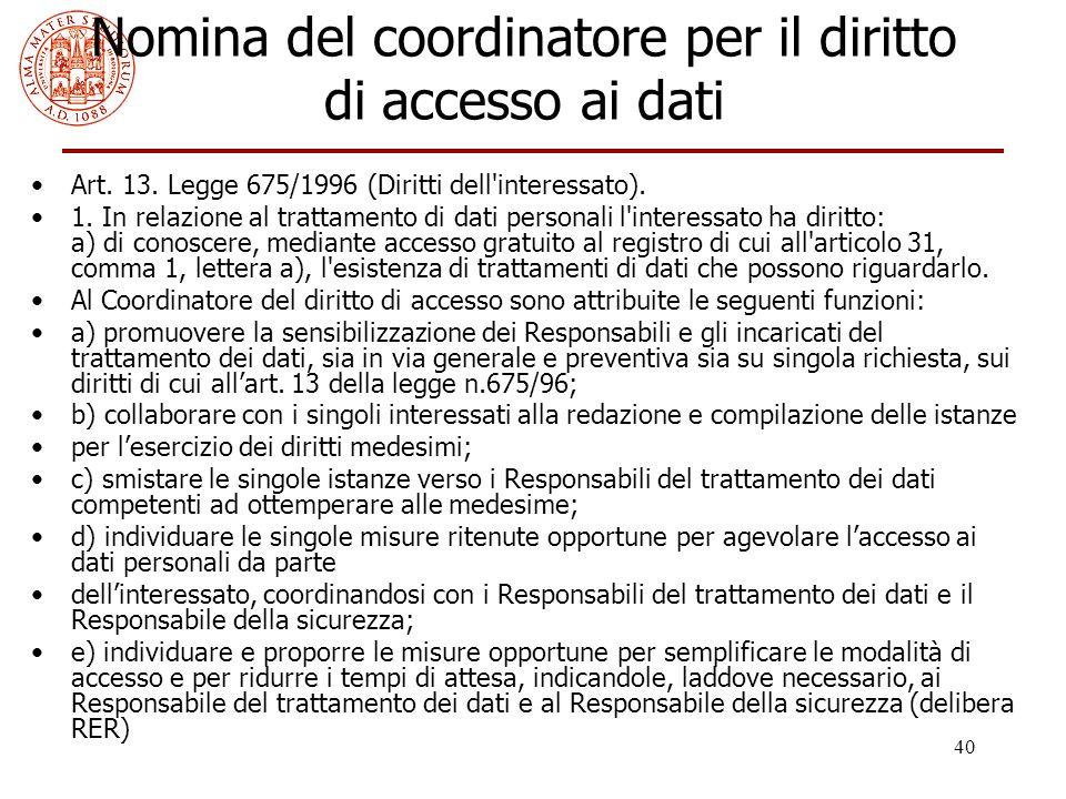 Nomina del coordinatore per il diritto di accesso ai dati