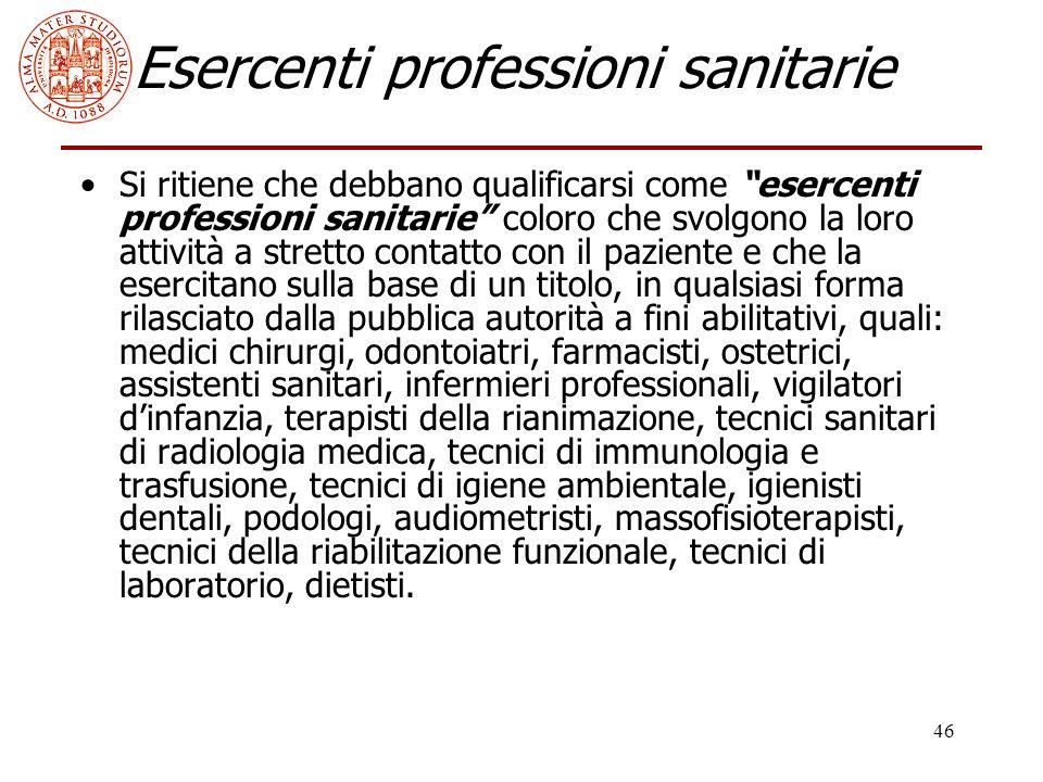 Esercenti professioni sanitarie