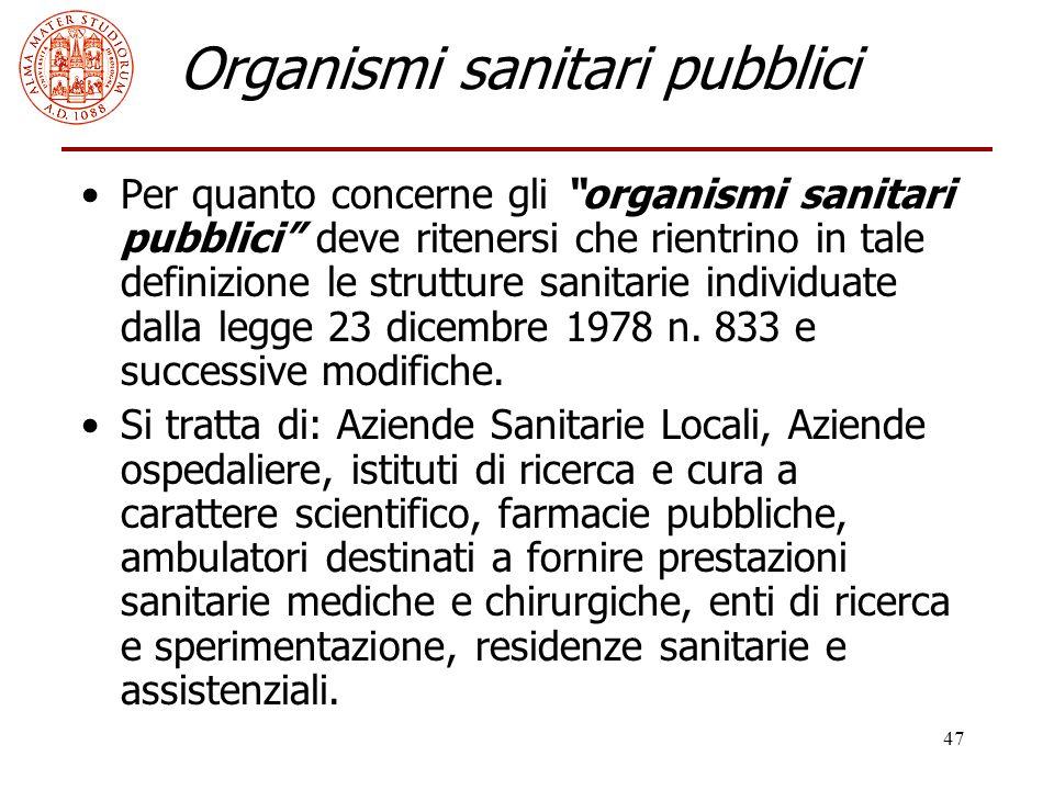 Organismi sanitari pubblici
