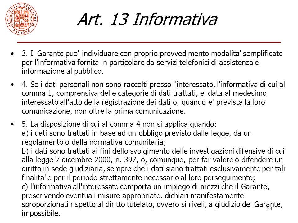 Art. 13 Informativa