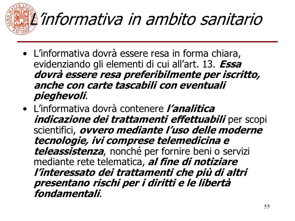 L'informativa in ambito sanitario