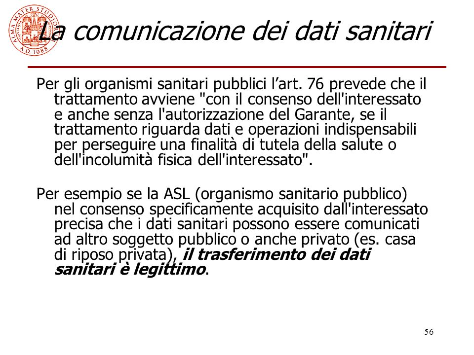 La comunicazione dei dati sanitari