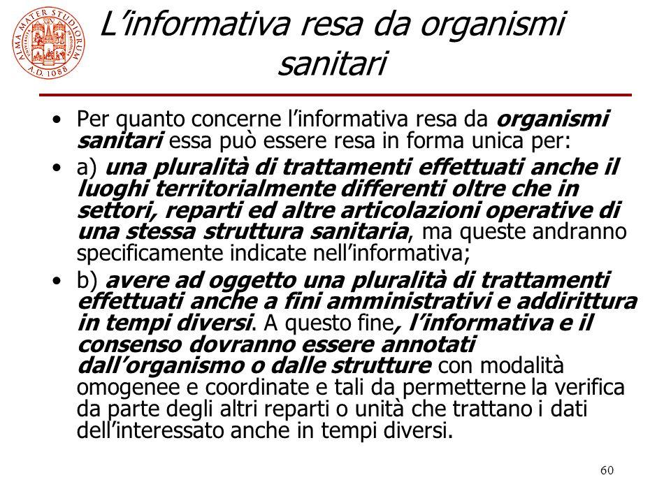 L'informativa resa da organismi sanitari
