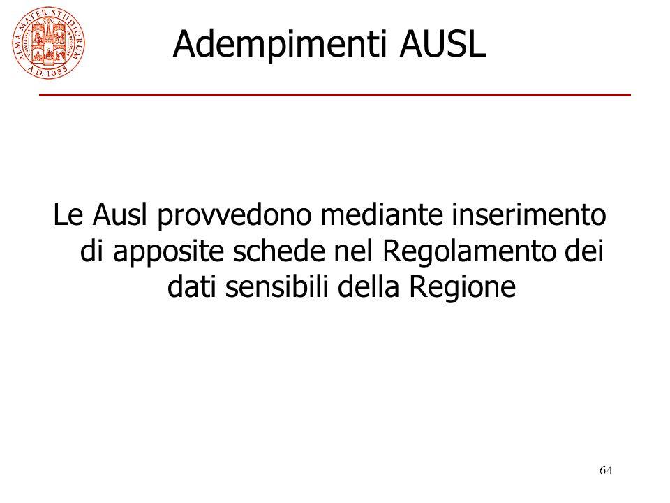Adempimenti AUSL Le Ausl provvedono mediante inserimento di apposite schede nel Regolamento dei dati sensibili della Regione.