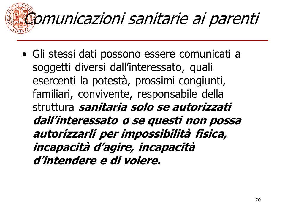 Comunicazioni sanitarie ai parenti