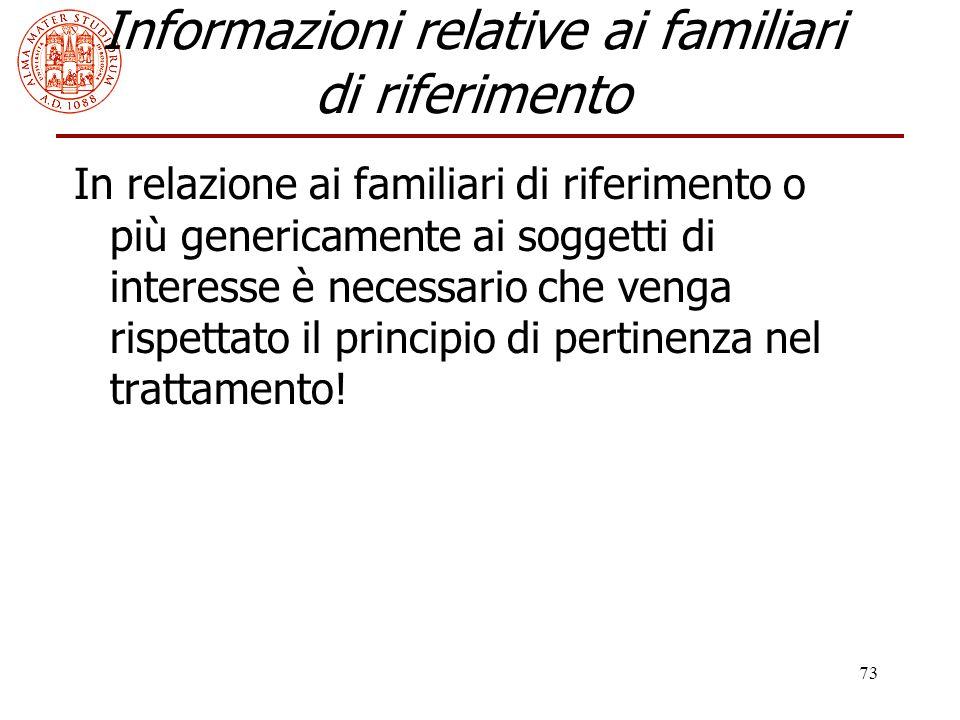 Informazioni relative ai familiari di riferimento