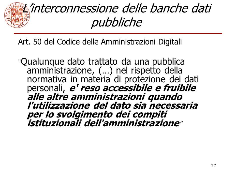 L'interconnessione delle banche dati pubbliche