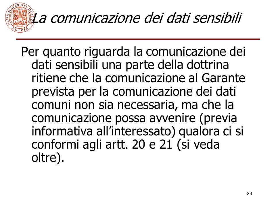 La comunicazione dei dati sensibili