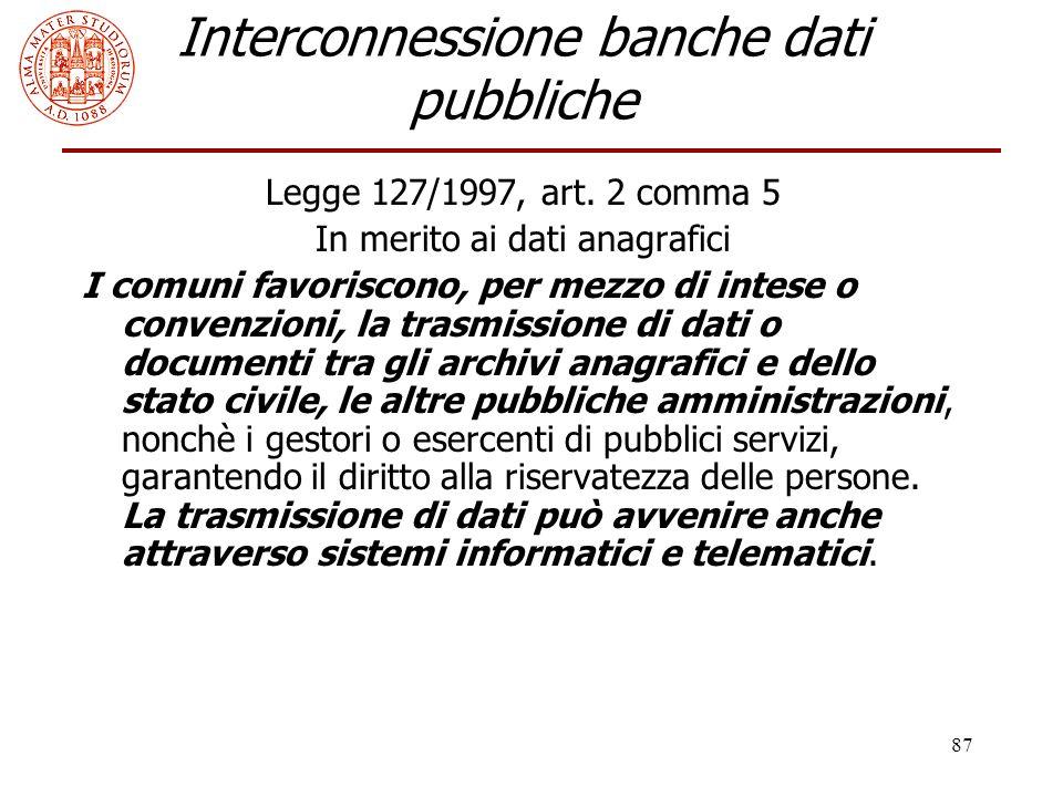Interconnessione banche dati pubbliche