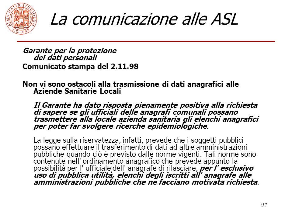 La comunicazione alle ASL