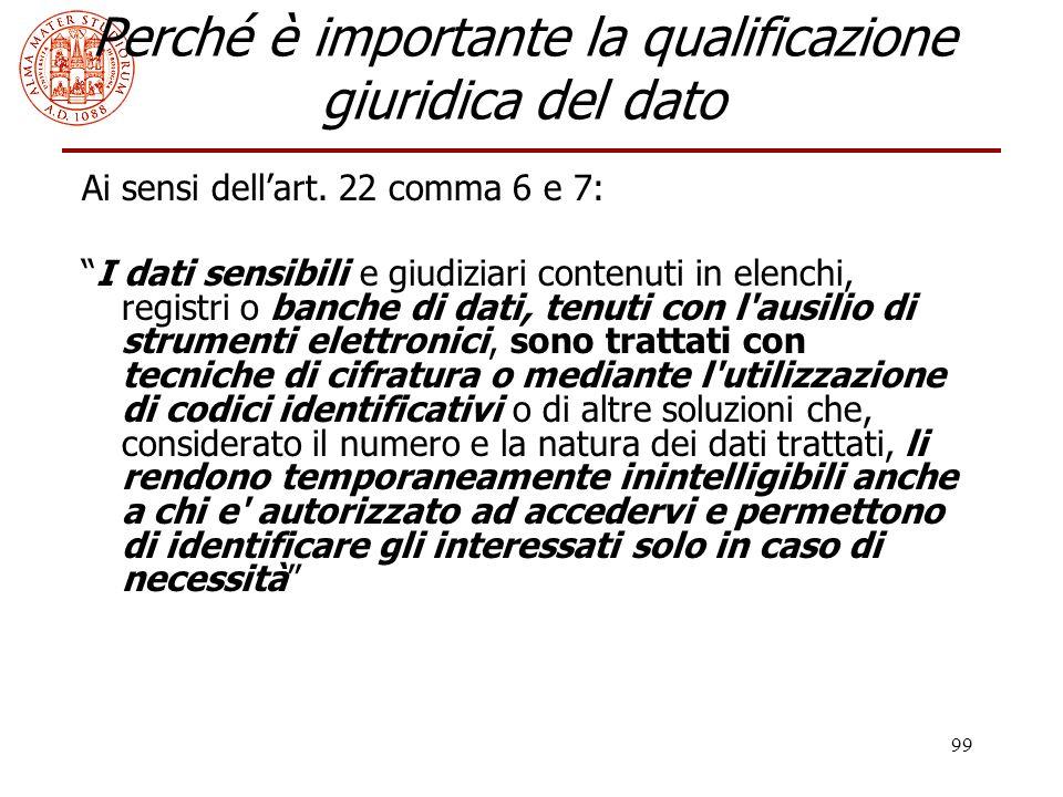 Perché è importante la qualificazione giuridica del dato