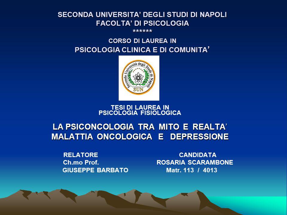 MALATTIA ONCOLOGICA E DEPRESSIONE
