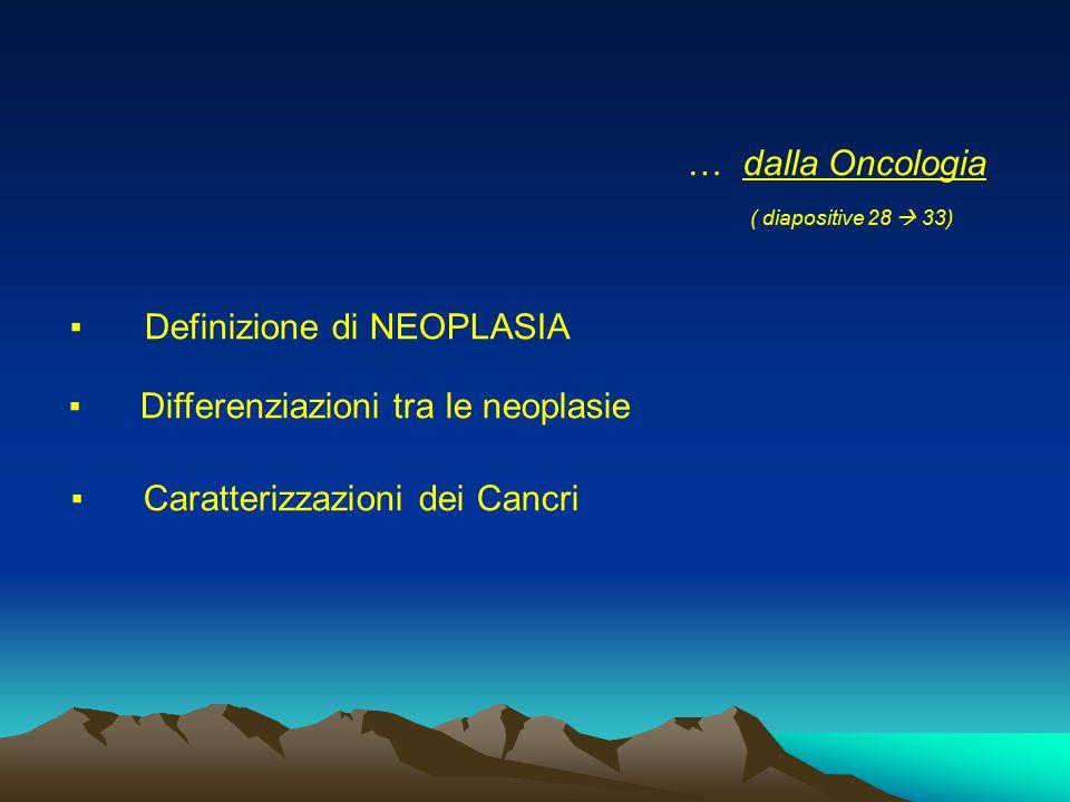 … dalla Oncologia ( diapositive 28  33) ▪ Definizione di NEOPLASIA