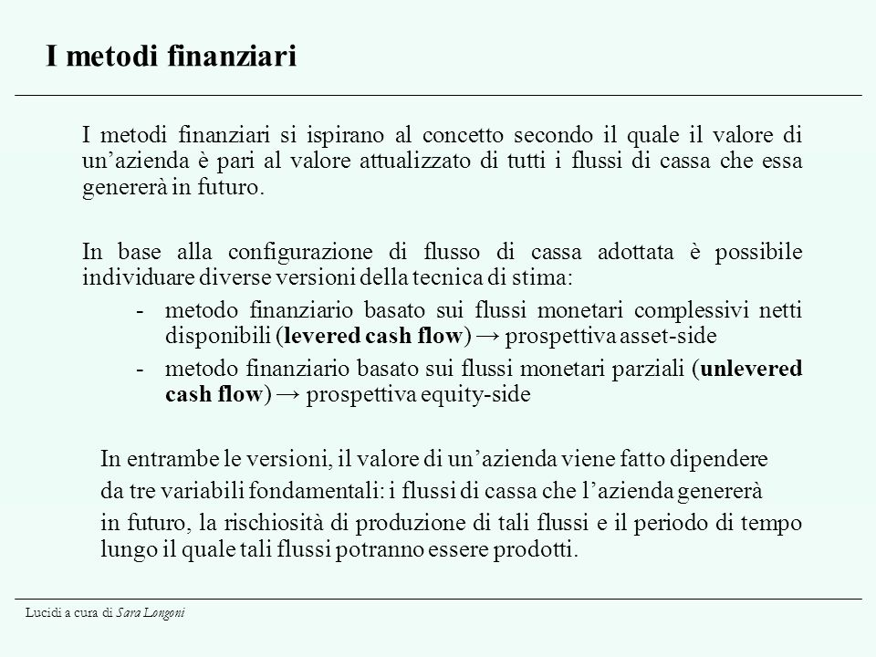 I metodi finanziari