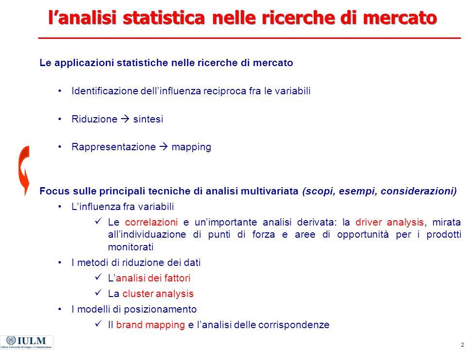 l'analisi statistica nelle ricerche di mercato