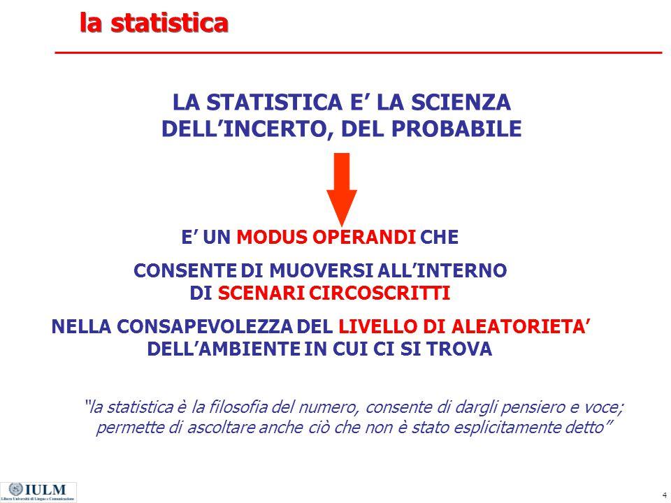 la statistica LA STATISTICA E' LA SCIENZA DELL'INCERTO, DEL PROBABILE